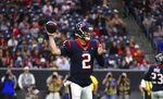 Houston Texans quarterback AJ McCarron (2) throws a pass against the Tennessee Titans during the first half of an NFL football game Sunday, Dec. 29, 2019, in Houston. (AP Photo/Eric Christian Smith)