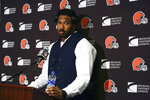 FILE - In this Sept. 16, 2019, file photo, Cleveland Browns' Myles Garrett speaks after an NFL football game against the New York Jets, in East Rutherford, N.J. Garrett knows his ugly, helmet-swinging assault on Steelers quarterback Mason Rudolph last season will always follow him. It's part of his history. (AP Photo/Adam Hunger, File)