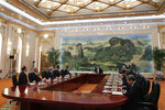 Chinese President Xi Jinping, center, meets with U.S. Trade Representative Robert Lighthizer, fifth from left, U.S. Treasury Secretary Steven Mnuchin, fourth from left, and delegations from both countries at the Great Hall of the People in Beijing, Friday, Feb. 15, 2019. (AP Photo/Andy Wong, Pool)