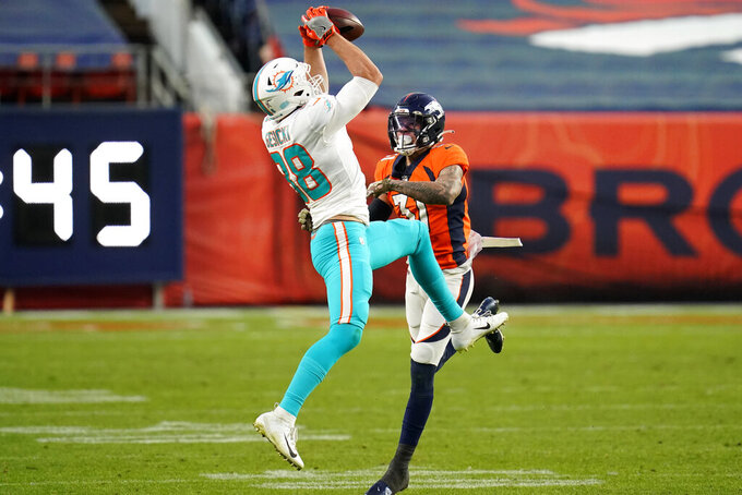 Miami Dolphins tight end Mike Gesicki (88) makes a catch as Denver Broncos free safety Justin Simmons (31) defends during the second half of an NFL football game, Sunday, Nov. 22, 2020, in Denver. (AP Photo/David Zalubowski)