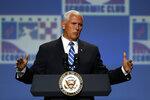 Vice President Mike Pence speaks at the Economic Club of Detroit, Monday, Aug. 19, 2019. (AP Photo/Paul Sancya)