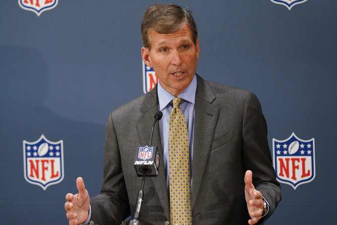 Allen Sills, Chief Medical Officer for the NFL, speaks to reporters during the NFL football owners meeting in New York, Tuesday, Oct. 26, 2021. (AP Photo/Seth Wenig)
