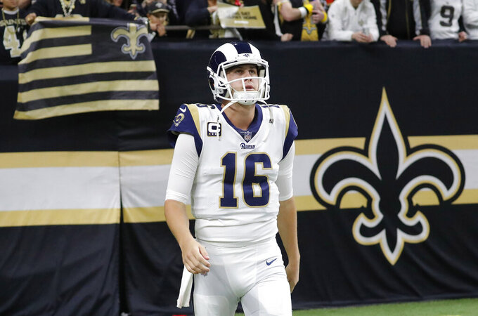 Los Angeles Rams' Jared Goff takes the field before the NFL football NFC championship game against the New Orleans Saints, Sunday, Jan. 20, 2019, in New Orleans. (AP Photo/John Bazemore)