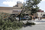 A group of young people walk through the parking lot of a 7-eleven store, passing a tree that was downed by Tropical Storm Isaias, Wednesday, Aug. 5, 2020, in the Middle Village neighborhood of Queens in New York. The area was one of several areas in New York that suffered damaged in the wake of high winds from the tropical storm on Tuesday as it pushed it's way up the East Coast of the United States. (AP Photo/Kathy Willens)