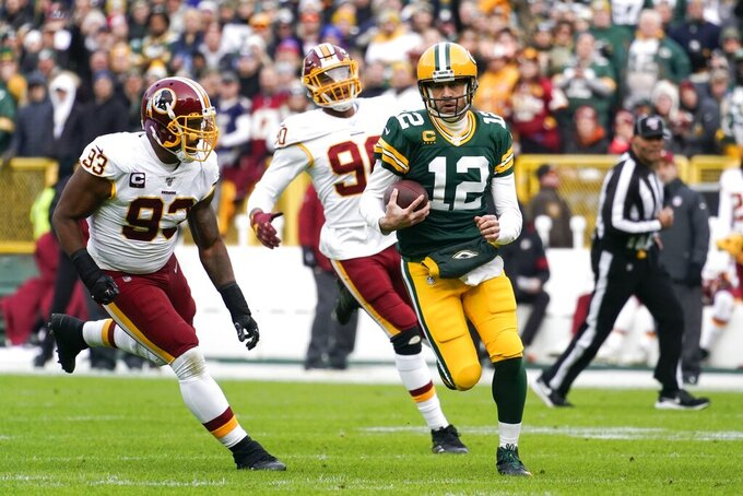 Green Bay Packers' Aaron Rodgers runs for a first down during the first half of an NFL football game against the Washington Redskins Sunday, Dec. 8, 2019, in Green Bay, Wis. (AP Photo/Morry Gash)
