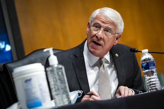 Sen. Roger Wicker, R-Mo., speaks during a Senate Environment and Public Works Committee oversight hearing to examine the Environmental Protection Agency, Wednesday, May 20, 2020 on Capitol Hill in Washington.  (Al Drago/Pool via AP)