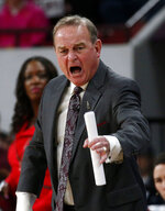 Mississippi State coach Vic Schaefer shouts during the first half of the team's NCAA college basketball game against Missouri, Thursday, Feb. 14, 2019, in Starkville, Miss. Missouri won 75-67. (AP Photo/Rogelio V. Solis)