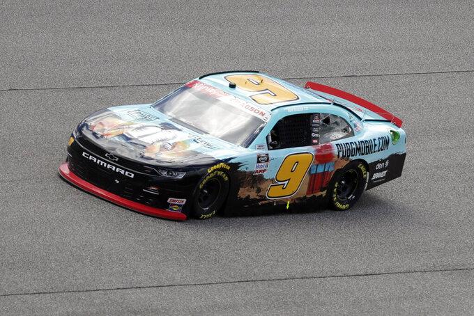 Noah Gragson drives during a NASCAR Xfinity Series auto race Sunday, June 14, 2020, in Homestead, Fla. (AP Photo/Wilfredo Lee)