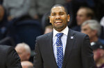 Butler head coach LaVall Jordan shouts from the sideline during the first half of an NCAA college basketball game against Villanova, Tuesday, Jan. 21, 2020, in Villanova, Pa. (AP Photo/Laurence Kesterson)