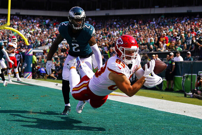Kansas City Chiefs tight end Noah Gray (83) can't complete a pass in front of Philadelphia Eagles cornerback Darius Slay (2) during the first half of an NFL football game Sunday, Oct. 3, 2021, in Philadelphia. (AP Photo/Matt Slocum)