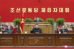In this photo provided by the North Korean government, North Korean leader Kim Jong Un, bottom center, attends a ruling party congress in Pyongyang, North Korea Tuesday, Jan. 12, 2021. Kim vowed all-out efforts to bolster his country's nuclear deterrent during the major ruling party meeting where he earlier laid out plans to work toward salvaging the broken economy. Independent journalists were not given access to cover the event depicted in this image distributed by the North Korean government. The content of this image is as provided and cannot be independently verified. Korean language watermark on image as provided by source reads: