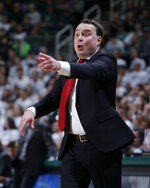 Indiana coach Archie Miller yells instructions against Michigan State during the first half of an NCAA college basketball game, Saturday, Feb. 2, 2019, in East Lansing, Mich. Indiana won 79-75 in overtime. (AP Photo/Al Goldis)
