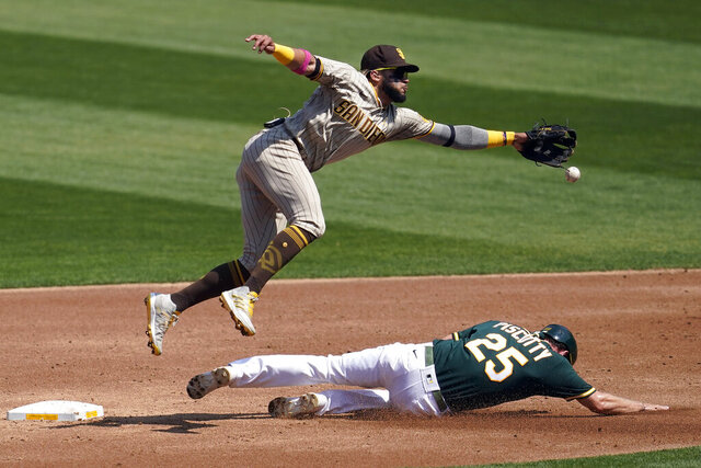 Oakland Athletics' Stephen Piscotty, bottom, steals second base under San Diego Padres shortstop Fernando Tatis Jr. during the second inning of a baseball game in Oakland, Calif., Saturday, Sept. 5, 2020. (AP Photo/Jeff Chiu)