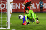 Mexico goalkeeper Emily Alvarado makes a save against the United States during the first half of a CONCACAF women's Olympic qualifying soccer match Friday, Feb. 7, 2020, in Carson, Calif. (AP Photo/Chris Carlson)