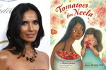 """Padma Lakshmi appears at the Producers Guild Awards in Beverly Hills, Calif., on Jan. 19, 2019, left, and  cover art for """"Tomatoes for Neela,"""" a children's book written by Lakshmi, with illustrations by Juana Martinez-Neal.  The book mixes the author's memories of cooking with her family with practical food advice, a nod to farmworkers and even a pair of recipes. (AP Photo, left, and  Viking Books for Young Readers via AP)"""