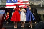 The Victory Belles sing the National Anthem as World War II veteran Lawrence Brooks celebrates his 110th birthday at the National World War II Museum in New Orleans, Thursday, Sept. 12, 2019. Brooks was born Sept. 12, 1909, and served in the predominantly African-American 91st Engineer Battalion, which was stationed in New Guinea and then the Philippines during World War II. He was a servant to three white officers in his battalion. (AP Photo/Gerald Herbert)