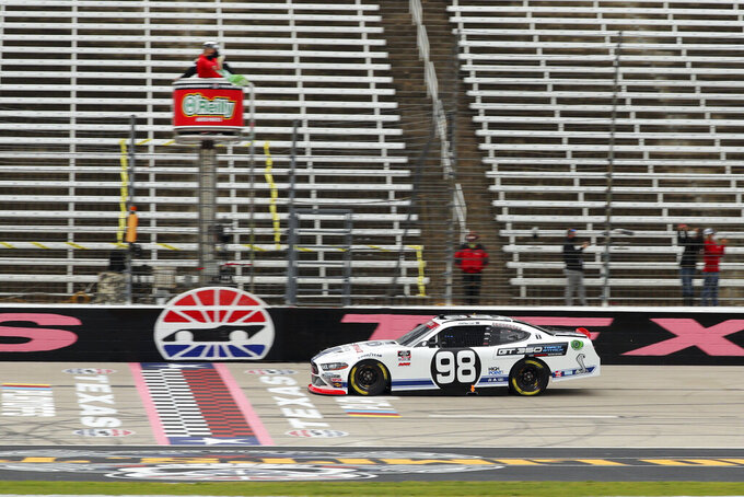 NASCAR Xfinity Series driver Chase Briscoe (98) starts the race during a NASCAR Xfinity Series auto race at Texas Motor Speedway in Fort Worth, Texas, Saturday Oct. 24, 2020. (AP Photo/Richard W. Rodriguez)