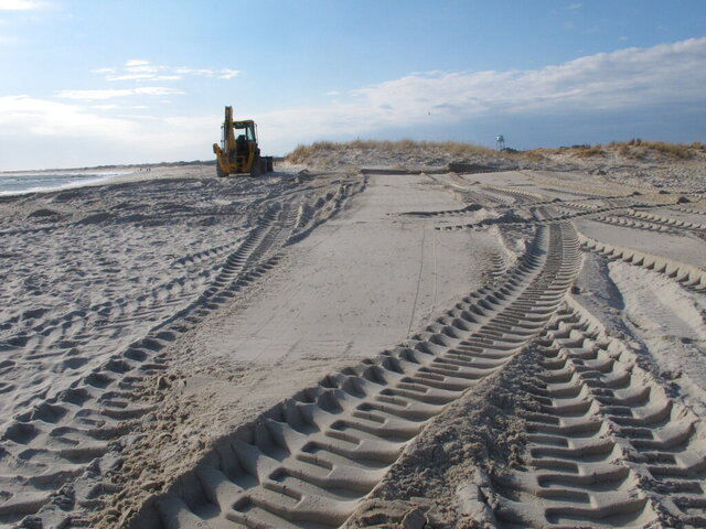 Freshly smoothed sand covers the carcass of a 15-ton humpback whale that was buried in the sand in Barnegat Light, N.J. on Monday, Dec. 28, 2020. The whale had washed ashore three days earlier. (AP Photo/Wayne Parry)