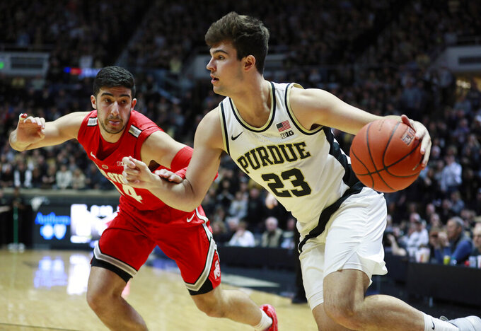 Purdue forward Kyle King (23) drives on Ohio State guard Joey Lane in the second half of an NCAA college basketball game, Saturday, March 2, 2019, in West Lafayette, Ind. Purdue won 86-51. (AP Photo/R Brent Smith)