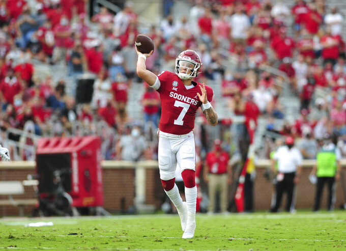 Oklahoma quarterback Spencer Rattler passes during an NCAA college football game against Missouri State, Saturday, Sept. 12, 2020, in Norman, Okla. (Kyle Phillips/The Norman Transcript via AP)