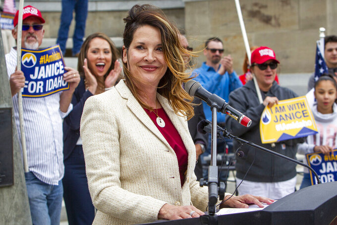 FILE - In this May 19, 2021, file photo, Idaho Lt. Gov. Janice McGeachin speaks at a rally on the Statehouse steps in Boise, Idaho. Republican Idaho Lt. Gov. McGeachin says state lawmakers and Republican Gov. Brad Little are failing citizens by not taking action to prevent employers from requiring employees get the COVID-19 vaccine. McGeachin at a news conference Thursday, July 15, 2021, repeated her request from last week to reconvene the Legislature. (Darin Oswald/Idaho Statesman via AP, File)