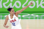 FILE - United States' Diana Taurasi celebrates after making a three-point basket during the gold medal basketball game against Spain at the 2016 Summer Olympics in Rio de Janeiro, Brazil, in this Saturday, Aug. 20, 2016, file photo. Sue Bird and Diana Taurasi will try and become the first five-time Olympic gold medalists in basketball as they lead the U.S women's team at the Tokyo Games. The duo was selected for their fifth Olympics on Monday, June 21, 2020, joining Teresa Edwards as the only basketball players in U.S. history to play in five.(AP Photo/Charlie Neibergall, File)