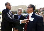 FILE - In this Aug. 17, 2017 file photo Albert Lassiter, left, Meredith C. Anding Jr., center, and Alfred Lee Cook, all members of the