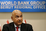 World Bank Regional Director Saroj Kumar Jha, speaks during an interview with the Associated Press, in Beirut, Lebanon, Friday, Nov. 8, 2019. Jha said during the interview that Lebanon needs to quickly form a new Cabinet within a week to prevent further degradation of the Lebanese economy and the confidence of the Lebanese economy. Jha said in recent weeks the World Bank has observed increasing risks to Lebanon's economic and financial stability and therefore it is very concerned that this will impact Lebanon's poor people, middle class and businesses.(AP Photo/Hussein Malla)