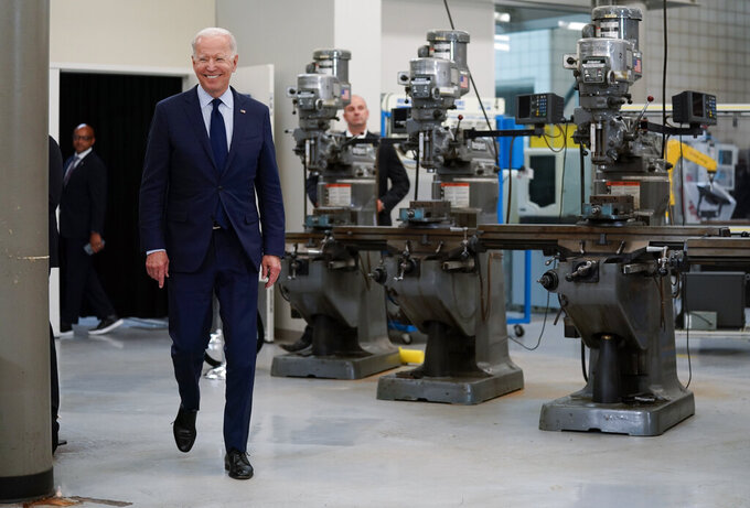 President Joe Biden arrives to speak about the economy at the Cuyahoga Community College Metropolitan Campus, Thursday, May 27, 2021, in Cleveland. (AP Photo/Evan Vucci)