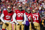 San Francisco 49ers defensive end Arik Armstead, left, and defensive tackle DeForest Buckner (99) react to a play against the Minnesota Vikings during the first half of an NFL divisional playoff football game, Saturday, Jan. 11, 2020, in Santa Clara, Calif. (AP Photo/Tony Avelar)