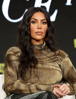 FILE - In this Saturday, Jan. 18, 2020 file photo, Kim Kardashian West speaks at the