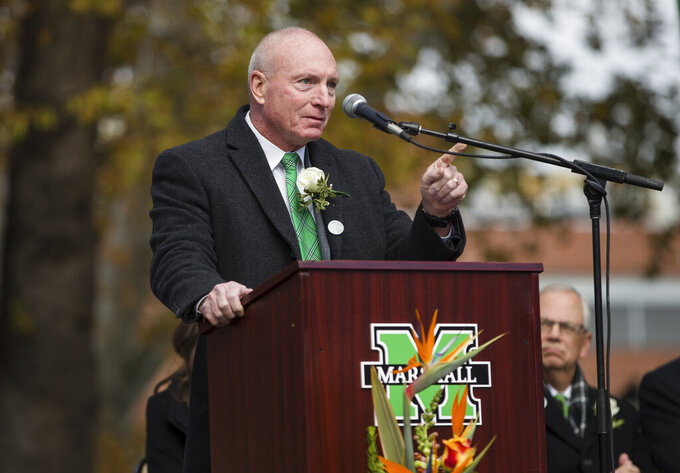 FILE - Marshall NCAA college football head football coach Doc Holliday speaks during Marshall University's 49th annual Memorial Fountain Ceremony in Huntington, Va., in this Thursday, Nov. 14, 2019, file photo. Marshall announced Monday, Jan. 4, 2020, that it will not renew the contract of coach Doc Holliday. (Sholten Singer/The Herald-Dispatch via AP, File)
