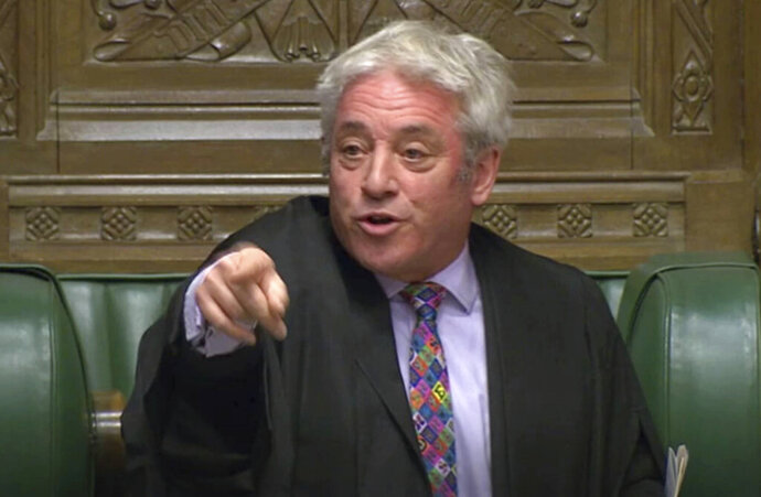 Speaker of Britain's House of Commons John Bercow gestures makes a statement in the House of Commons in London whether Government can hold a debate and vote on the Brexit deal with Europe, Monday Oct. 21, 2019. The government request for a meaningful vote inside the House of Commons is rejected Monday by Speaker Bercow. (House of Commons via AP)