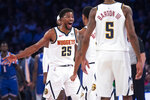 Denver Nuggets guard Malik Beasley (25) reacts as he heads to the bench during the first half of the team's NBA basketball game against the New York Knicks, Thursday, Dec. 5, 2019, at Madison Square Garden in New York. (AP Photo/Mary Altaffer)