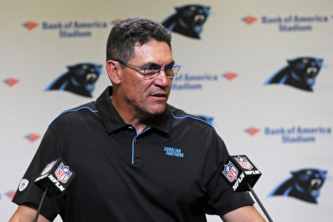 Carolina Panthers head coach Ron Rivera speaks to members of the media following an NFL football game against the Jacksonville Jaguars in Charlotte, N.C., Sunday, Oct. 6, 2019. (AP Photo/Mike McCarn)