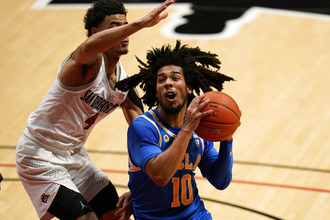 UCLA guard Tyger Campbell drives to the basket as San Diego State guard Trey Pulliam defends during the first half of an NCAA college basketball game Wednesday, Nov. 25, 2020, in San Diego. (AP Photo/Gregory Bull)