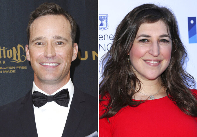 """This combination photo shows Mike Richards, left, in the pressroom at the 43rd annual Daytime Emmy Awards on May 1, 2016, in Los Angeles and Mayim Bialik at a Celebration of the 70th Anniversary of Israel on June 10, 2018, in Los Angeles. Eight months after the death of beloved """"Jeopardy!"""" host Alex Trebek, the daily syndicated quiz show chose its executive producer as Trebek's successor over a field of celebrity candidates. Sony also chose Mayim Bialik as emcee for """"Jeopardy!"""" primetime and spinoff series, including a new college championship. (Photo by Richard Shotwell/Invision/AP)"""