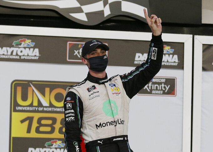 Austin Cindric celebrates in Victory Lane after winning the NASCAR Xfinity Series auto race at Daytona International Speedway, Saturday, Aug. 15, 2020, in Daytona Beach, Fla. (AP Photo/Terry Renna)