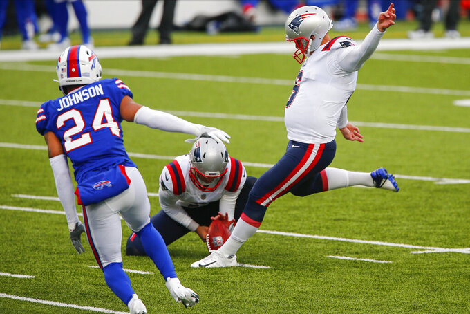 New England Patriots' Nick Folk (6) kicks a field goal during the first half of an NFL football game against the Buffalo Bills Sunday, Nov. 1, 2020, in Orchard Park, N.Y. (AP Photo/John Munson)