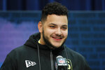 Ohio State offensive lineman Jonah Jackson speaks during a press conference at the NFL football scouting combine in Indianapolis, Wednesday, Feb. 26, 2020. (AP Photo/Charlie Neibergall)