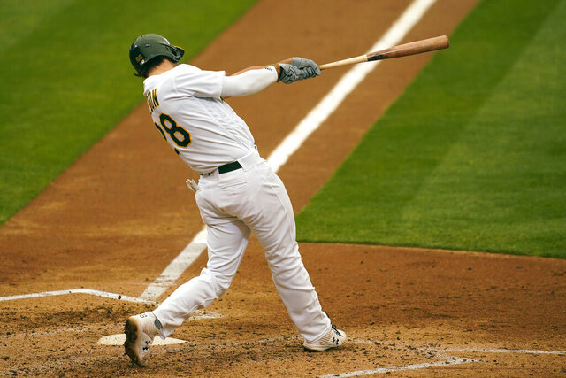 Oakland Athletics' Matt Olson hits a two-run home run against the Houston Astros during the sixth inning of a baseball game in Oakland, Calif., Thursday, Sept. 10, 2020. (AP Photo/Jeff Chiu)