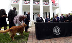 Governor Greg Abbott's dog Pancake joins Abbott, seated center, Lt. Governor Dan Patrick, seated left, and Speaker of the House Dennis Bonnen, seated right, and other law makers for a joint press conference where changes to teacher pay and school finance were announced at the Texas Governor's Mansion in Austin, Texas, Thursday, May 23, 2019, in Austin. (AP Photo/Eric Gay)