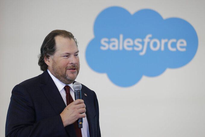FILE - In this Thursday, May 16, 2019, file photo, Salesforce chairman Marc Benioff speaks during a news conference, in Indianapolis. Business-software company Salesforce says it will help employees leave Texas if they are worried about a new law that severely restricts abortion in the state. Benioff made his position clear by retweeting on Friday night, Sept. 10, 2021, a CNBC story describing the company's offer to help employees relocate. (AP Photo/Darron Cummings, File)