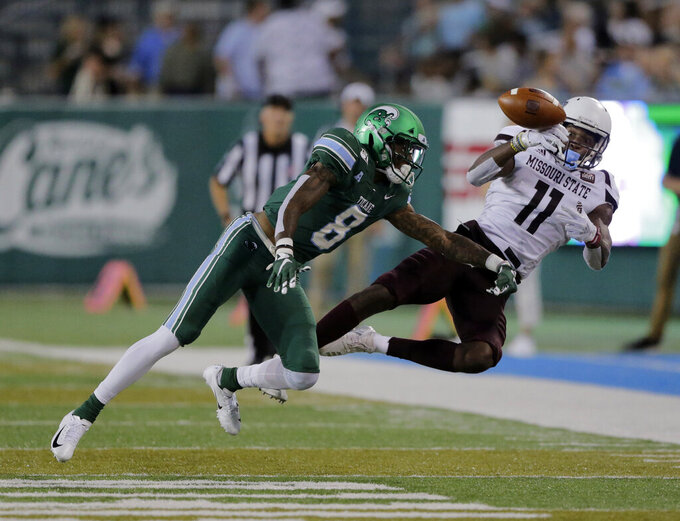 Tulane cornerback Willie Langham (8) knocks the ball away from Missouri State wide receiver Tyler Currie (11) during an NCAA college football game Saturday, Sept. 14, 2019, in New Orleans. (A.J. Sisco/The Advocate via AP)