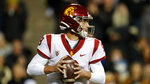 Southern California quarterback Kedon Slovis (9) in the second half of an NCAA college football game Friday, Oct. 25, 2019, in Boulder, Colo. Southern California won 35-31. (AP Photo/David Zalubowski)