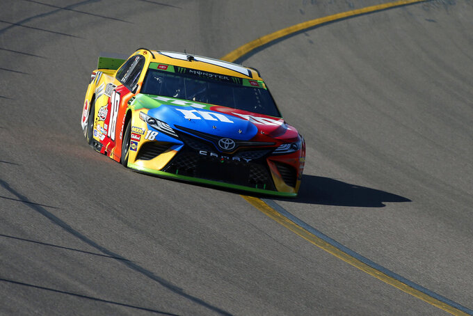 Kyle Busch during the NASCAR Cup Series auto race at ISM Raceway, Sunday, Nov. 10, 2019, in Avondale, Ariz. (AP Photo/Ralph Freso)