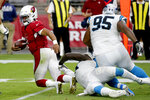 Arizona Cardinals quarterback Kyler Murray (1) is sacked by Carolina Panthers linebacker Mario Addison during the second half of an NFL football game, Sunday, Sept. 22, 2019, in Glendale, Ariz. (AP Photo/Rick Scuteri)