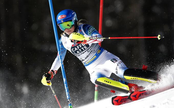 United States' Mikaela Shiffrin competes during a women's slalom, at the alpine ski World Championships in Cortina d'Ampezzo, Italy, Saturday, Feb. 20, 2021. (AP Photo/Gabriele Facciotti)