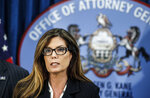 FILE - In this July 29, 2016, file photo, Pennsylvania Attorney General Kathleen Kane speaks during a news conference in Harrisburg, Pa. The former Pennsylvania attorney general is set to be released from a county jail on Wednesday, July 31, 2019, after serving about eight months for leaking grand jury material and lying about it, Montgomery County Correctional Facility Warden Julio Algarin said. (Dan Gleiter/PennLive.com via AP, File)