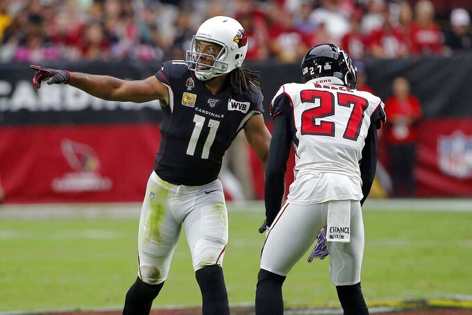 Arizona Cardinals wide receiver Larry Fitzgerald (11) lines up against Atlanta Falcons strong safety Damontae Kazee (27) during the second half of an NFL football game, Sunday, Oct. 13, 2019, in Glendale, Ariz. (AP Photo/Rick Scuteri)